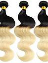 3st / mycket brasilianskt jungfruligt hår vågigt ombre hårförlängningar två ton färg 1b 613 honung blonda Ombre hårknippena