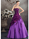 Formal Evening Dress Ball Gown Strapless Floor-length Taffeta with Appliques / Beading / Side Draping
