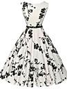 kvinders vintage / enkel blomstret kappe / skater kjole, rund hals knælang bomuld (tilfældig blomstermønster)