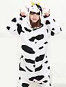 Kigurumi Pyjamas Ko Trikå/Onesie Festival/högtid Pyjamas med djur halloween Svart/Vit Lappverk Korallfleece Kigurumi För UnisexHalloween