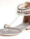 Damskor-Konstläder-Låg klack-Flip-flop-Sandal-Formellt / Fritid / Fest/afton-Vit / Silverfärgad / Guldfärgad