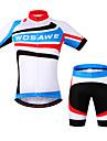 Wosawe® Cykeltröja med shorts Unisex Kort ärm CykelAndningsfunktion / Snabb tork / Anatomisk design / Dragkedja fram / 3D Pad / Back