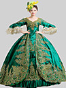 Une Piece/Robes Gothique Steampunk® Rococo Cosplay Vetrements Lolita Vert Retro Poete Manches longues Long Robe Chapeau Jupon PourSatin