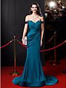 Meerjungfrau / Trompete Off-the-Schulter Hofzug Satin Chiffon Abendkleid mit Drapieren von ts couture®