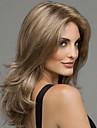 kvinnor brunt långt vågigt syntetiskt hår peruk