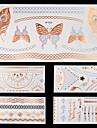 6-Series bijoux / Series animales / Series de fleur / Series de totem / Autres-Bleu / Argente-Motif-10.2 * 21cm-Tatouages Autocollants-