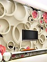 contemporain effet cuir 3d shinny grande peinture murale ronde et fleurs fond d\'ecran mural art decor pour television canape mur de fond