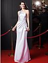 ts couture® vestido de noite formal bainha / coluna de um ombro cetim andar de comprimento trecho com beading / Cruz de Criss