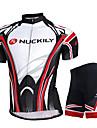 NUCKILY® Maillot et Cuissard de Cyclisme Homme Manches courtes Velo Respirable Sechage rapide Resistant aux ultraviolets Ecran Solaire