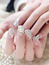 24pcs / set falska naglar falska spik färdiga manikyr naglar tips vit pärla
