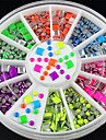 6 neonfärger plätering skarpa Fyrkantig legering nail art klistermärken tips glitter mode spik verktyg DIY dekoration stämpling