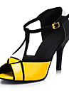 Chaussures de danse(Jaune) -Personnalisables-Talon Personnalise-Similicuir-Latine Salon