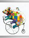 handmålade oljemålning djur stå ut med att cykla med sträckt ram