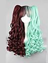 lolita peruk inspirerad av söta sweety brun och grön blandad färg punk