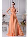 A-line halter etaj lungime sifon prom rochie de seară formală cu panglici ciorapi