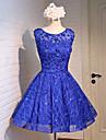 O linie de bijuterie gât de genunchi dantelă de satin tul bal rochie cu beading
