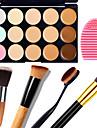 1pcs 15 couleurs camouflage contour naturel creme pour le visage / anticernes facial maquillage palette + 1 contour brosse + 1 brosse oeuf