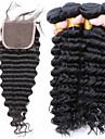 brasiliansk vinkar djupt med spets stängning brasilianskt hår väva buntar 1st spets stängning med 4 buntar människohår