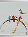 pictate manual pictura ulei de păsări de animale stați pe bicicleta cu cadru intins