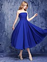 Ankle-length Chiffon Bridesmaid Dress - A-line Strapless with