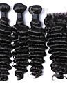 brasiliansk djup våg med stängnings 3Bundles nedläggning brasilianska djupt lockigt jungfru hårweften väver med stängning