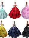 Fete / Soiree Robes Pour Poupee Barbie Rouge / Noir / Rose / Jaune / Bleu Encre / Cyan Robes Pour Fille de Doll Toy
