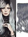 20 tum 5 clips i farmor grå kropp våg syntetisk hårförlängning