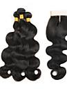 Trame cheveux avec fermeture Cheveux Peruviens Ondulation naturelle 4 Pieces tissages de cheveux