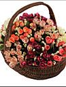 1 1 Une succursale Polyester / Plastique Roses Fleur de Table Fleurs artificielles 7.8inch/20cm