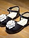 Sandaler Sommar Komfort Tända upp Skor Läder Fritid Platt klack Blomma Svart Röd Vit