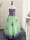 Ball Gown Floor-length Flower Girl Dress - Tulle Sleeveless Jewel with Appliques