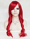 couleur perruque cosplay rouge 26 pouces haute temperature cheveux boucles perruque de soie