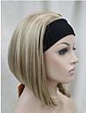 nytt mode 3/4 peruk med pannband kvinnors kort rak syntetisk halv peruk