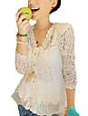 여성의 솔리드 V 넥 긴 소매섹시 데이트 화이트 폴리에스테르 봄 / 여름 / 가을 얇음