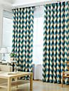 Två paneler Fönster Behandling Nyklassisistisk Medelhavet Europeisk Rustik Modern , Rand Vardagsrum Polyester MaterialMörkläggning