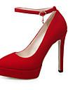 Homme-Bureau & Travail Decontracte Habille-Noir Bleu Rouge-Talon Aiguille Plateforme-A Plateau-Chaussures a Talons-Similicuir