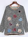 Dame Bluză Casul/Zilnic / Plus Size Simplu(ă),Imprimeu Manșon Lung Primăvară-Negru / Galben Opac Poliester