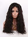 16-26 tum naturligt svart färg lockigt spets peruk brasilianskt jungfru människohår spets front peruk med baby hår