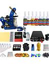 professionell färgpigment spole tatueringsmaskin kit utrustning (handtag färg slumpmässigt leverans)
