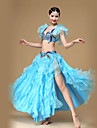 Belly Dance Outfits Women\'s Performance Cotton / Polyester / Organza Crystals/Rhinestones /Ruched / Split Front 2 Piece