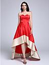 Linia -A In Formă de Inimă Asimetric Satin Stretch Bal Seară Formală Rochie cu Eșarfă / Panglică de TS Couture®