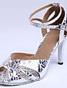 Chaussures de danse(Argent) -Personnalisables-Talon Bobine-Daim Cuir Similicuir-Latine Salon Chaussures Standard
