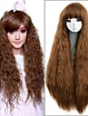 longues femmes 36inch brun moyen crepus de chaleur boucles resistant perruque synthetique lolita mignon cheveux naturels laches de