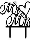 Mr&Mrs Heart Shape Word Cake Topper