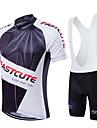 Fastcute® Maillot et Cuissard a Bretelles de Cyclisme Homme / Unisexe Manches courtes VeloRespirable / Sechage rapide / Zip frontal /