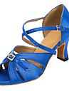 Chaussures de danse(Noir / Bleu) -Personnalisables-Talon Personnalise-Satin-Latine / Salsa