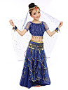 Belly Dance Outfits Children\'s Performance Chiffon Gold Coins Sequin 7 Pieces Fuchsia / Light Blue / Purple / Royal Blue