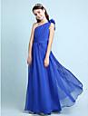 Lanting Bride® Floor-length Chiffon Junior Bridesmaid Dress A-line / Princess One Shoulder Natural withRuffles / Sash / Ribbon / Side