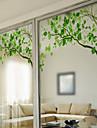 fereastră fereastră de film în stil abțibilduri crengi verzi proaspete mat comprimate fereastră din PVC - (60 x 58) cm