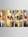 Peint a la main Abstrait / Paysage / Nature morte Peintures a l\'huile,Modern / Classique / Pastoral / Style europeen Quatre Panneaux Toile